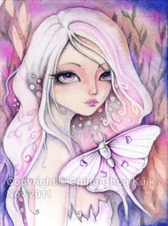 luna whispering - Original ACEO Art Reserved for Lunamod