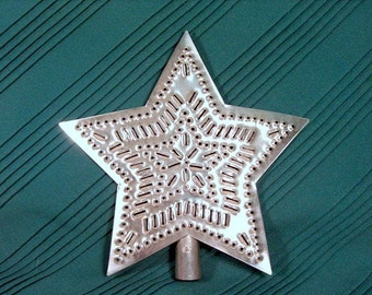 Tin Star Tree Topper 9 Inch Metal Star in Star Pattern Hand Cut By Larry West