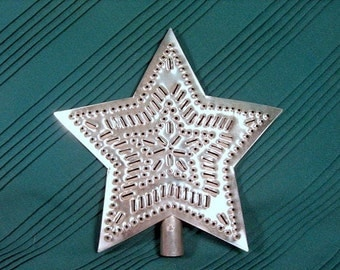 Tin Star Tree Topper 9 Inch Star in Star Pattern Hand Cut By Larry West