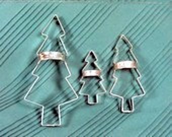 Alpine Tree Cookie Cutters Rustic 7in,5in,3.5in Set With Custom Handles 3-Piece By West Tinworks