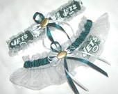 New Wedding Garter Set Handmade with New York Jets fabric