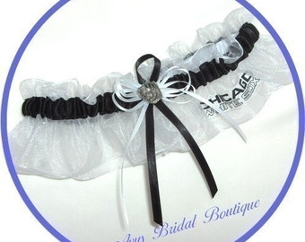 Wedding Keepsake Garter Handmade with Chicago White Sox fabric
