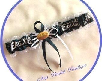 Wedding Toss Garter Handmade with Philadelphia Eagles fabric
