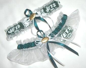New Wedding Garter Set Handmade with New York Jets fabric