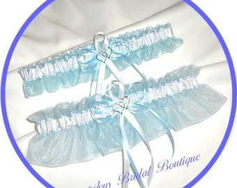 Blue and White Double Heart Wedding Garter Set