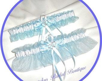 Blue and White Double Heart Wedding Garter Set