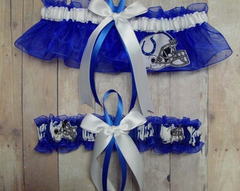 New Wedding Garter Set Handmade with Indianapolis Colts fabric ( Blue, Big Bow )