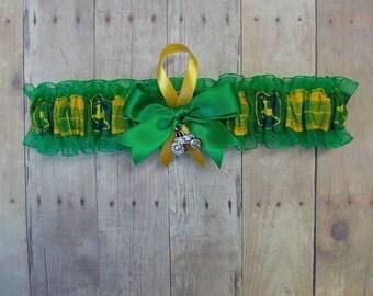 New Wedding Toss Garter Handmade with John Deere fabric ( Green )