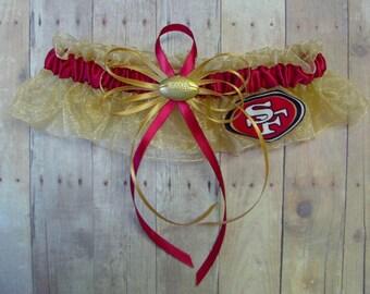 New Wedding Keepsake Garter Handmade with San Francisco 49ers fabric