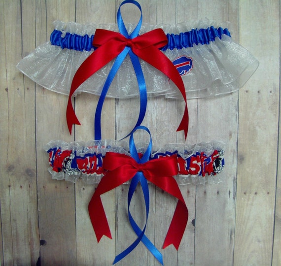 New Wedding Garter Set Handmade with Buffalo Bills fabric ( White, Big Bow )
