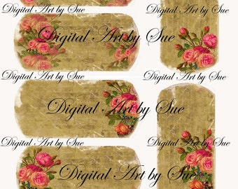 Instant Download - Gorgeous Roses- High quality digital full size sheet - Printable Download -  Hang Tags - One of a Kind