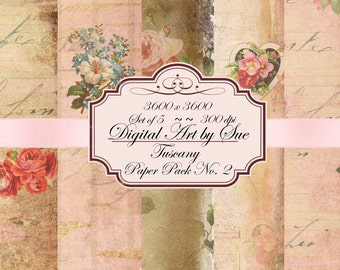 Tuscany Paper Pack No. 2-  Gorgeous Paper Set - Printable Digital Collage Sheets - Download - Crafts, Scrapbooking and More