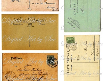 INSTANT DOWNLOAD -Vintage Postcards - Images- Digital Printable Download Collage Sheet