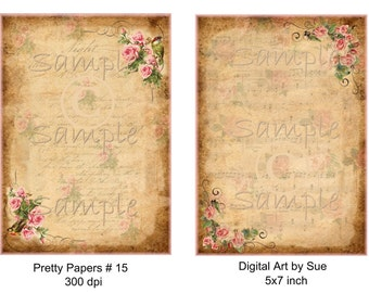 Instant Download - Pretty Papers No. 15- 5 X 7  -  Collage Sheet - Printable Download - Gift Tags - Scrapbook