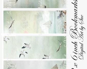 2 x 6 Tranquil Sea Bookmarks -  Digital Download - Printable  Digital Collage Sheet - Instant Download
