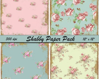 Instant download Shabby Paper Pack -   Gorgeous Paper Set - Printable Digital Sheets - Download - Crafts, Scrapbooking and More