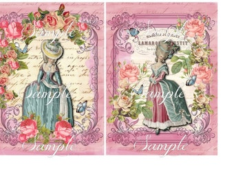 "Instant Download - Marie Antoinette  -  Printable Flat Card - Set of 2 - 5"" x 7""-  Printable Digital Collage Sheet"
