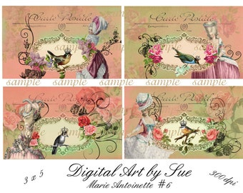 Instant Download  - Marie Antoinette No. 6-  Digital Download - Printable  Digital Collage Sheet