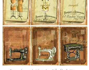 Vintage Sewing- ACEO -  Printable Digital Collage Sheet - Digital Download - Instant Download