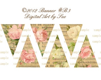 Instant Download  Shabby GARLAND No B3- Shabby Banner - Printable - Digital - High Quality Images