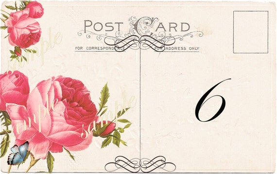 Instant Download Wedding Table Number - Place Card - Favor Tag - 3 x 5 - Printable  Digital Collage Sheet- Roses Floral Flowers Romantic