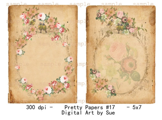 Instant Download Pretty Papers No. 17 - 5 X 7  -  High quality Collage Sheet - Printable Download - Gift Tags - Scrapbook