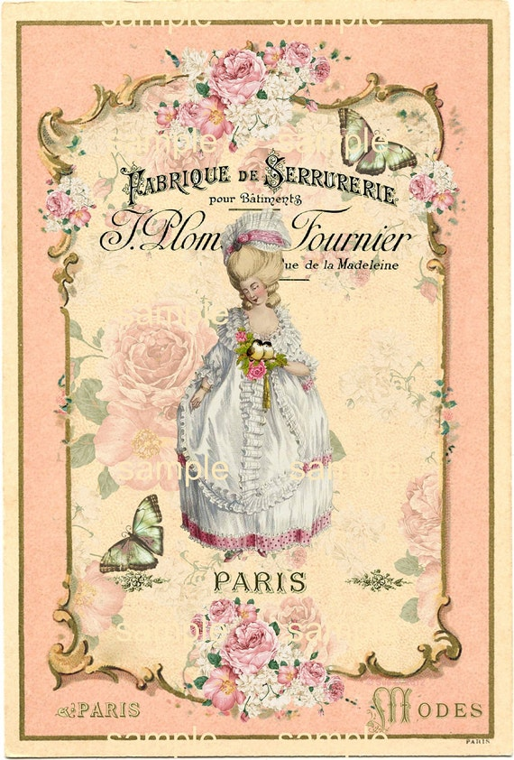 2 Sheets of images - Marie Antoinette in Paris -  Printable Digital Collage Sheet - Hang Tags