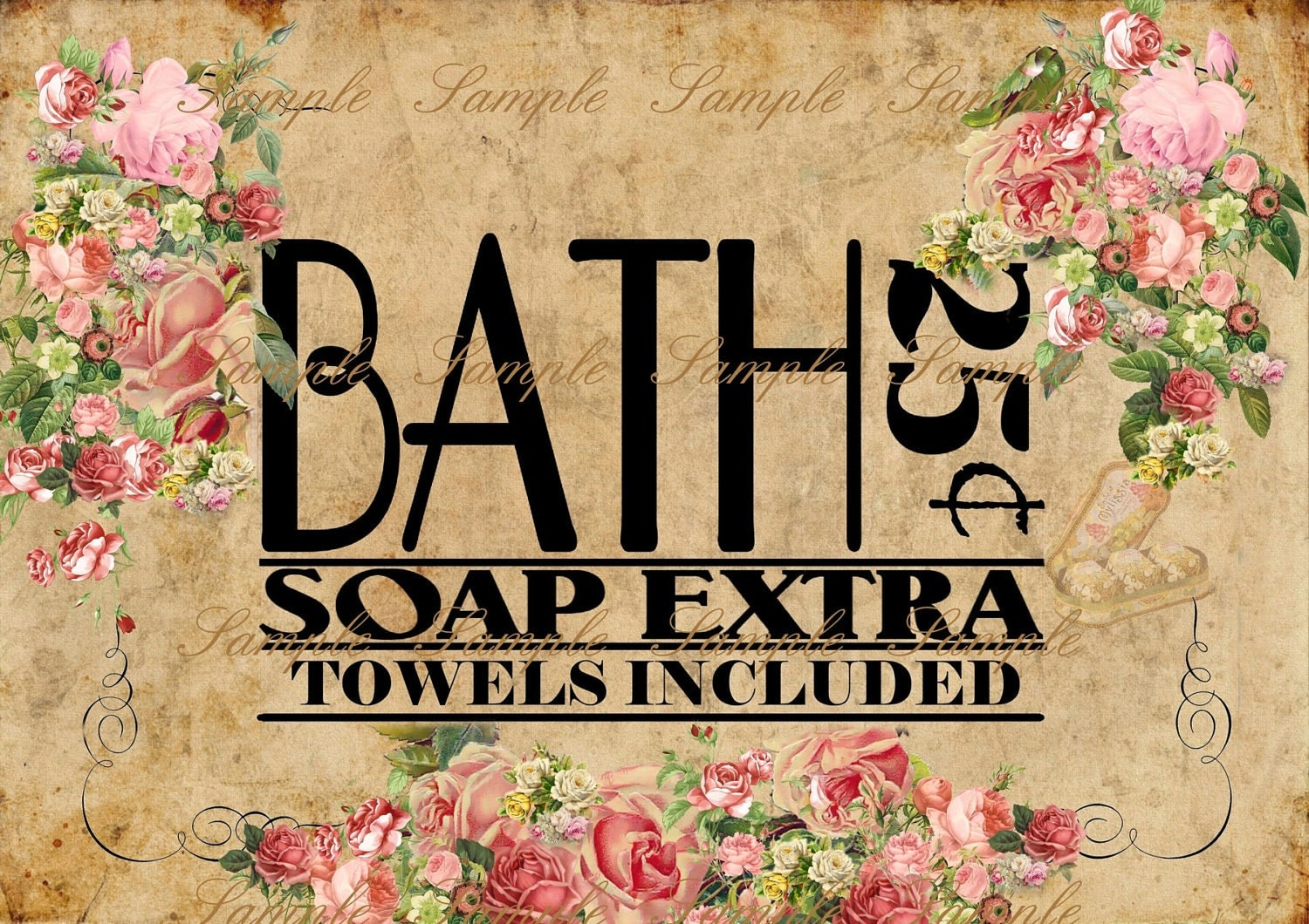 ... Instant Antique Bath Sign U Print By Navyblueshoe Vintage Bathroom Signs  ...
