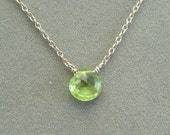 single green peridot on sterling silver chain