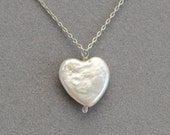 pearl heart necklace on silver chain