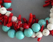 RESERVED FOR pugcrazy2 - chunky turquoise and red coral statement necklace - made upon request