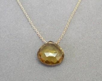 whiskey quartz on gold chain by rockedjewelry