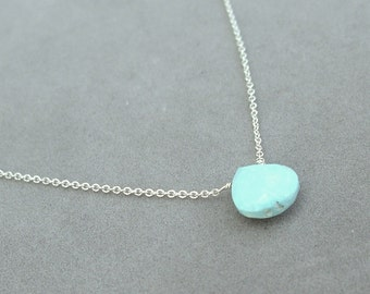 silver chain sleeping beauty turquoise necklace