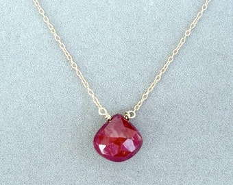 ruby pendant on 14k gold chain by rockedjewelry