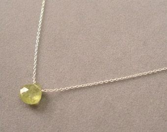 single green garnet on sterling silver chain by rockedjewelry