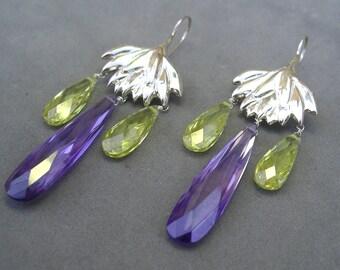 SALE - purple and yellow silver lotus chandelier earrings by rockedjewelry