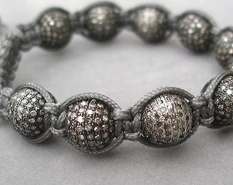 bracelet with pave diamond bead macrame by rockedjewelry