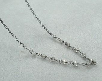 grey diamond bead chain necklace by rockedjewelry