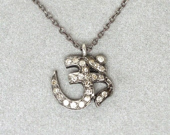 pave diamond om pendant necklace