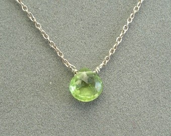 single green peridot on 14k white gold chain
