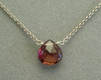 single pink tourmaline on sterling silver chain