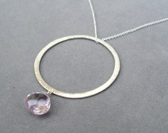 pink amethyst and silver hoop pendant by rockedjewelry