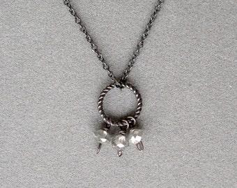 necklace with grey diamond bead necklace and oxidized silver chain by rockedjewelry