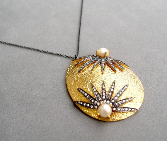 SALE - oxidized pave pendant with pearls by rockedjewelry