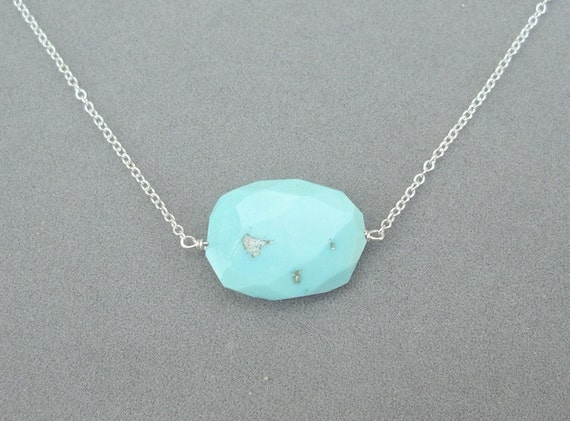 necklace with sleeping beauty turquoise nugget pendant by rockedjewelry