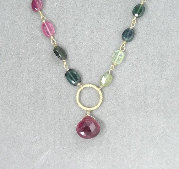 SALE - necklace with watermelon tourmaline chain by rockedjewelry