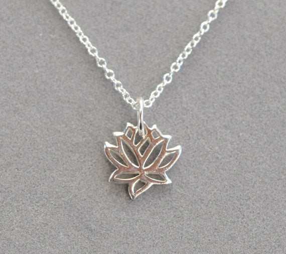 lotus necklace - sterling silver tiny charm