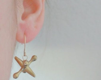 Atomic Jax Earrings in gold brass tone, Jacks Earrings, Retro Midcentury Modern or Spaceaged style. Think Jules Verne or Jetsons.
