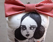 Doll, Fabric soft Sculpture, Printed Isabelle, Red