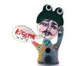 Fabric brooch, wearable art doll, cloth pin, speech bubble, printed cotton, Frog Prince